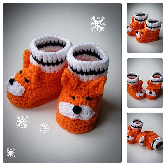 Little Fox Baby Booties, Crochet Baby Shoes, Newborn and Infant Booties, Funny Booties for babies, Animal Boots, Baby shower gift, all sizes