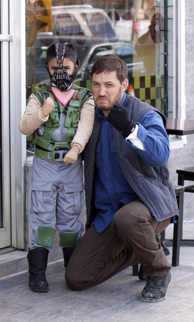 ugghhh...perfect   Tom Hardy Poses With Baby Bane