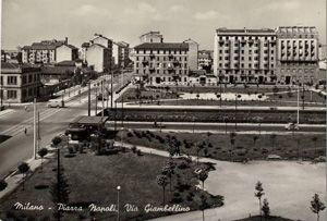 Piazza Napoli e via Giambellino, 1954