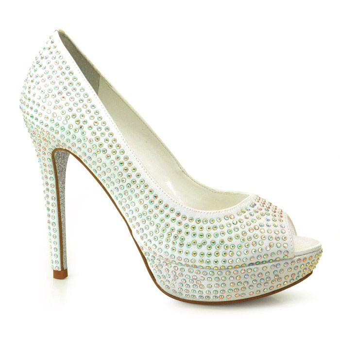 Sapato de Noiva Peep Toe Branco Werner