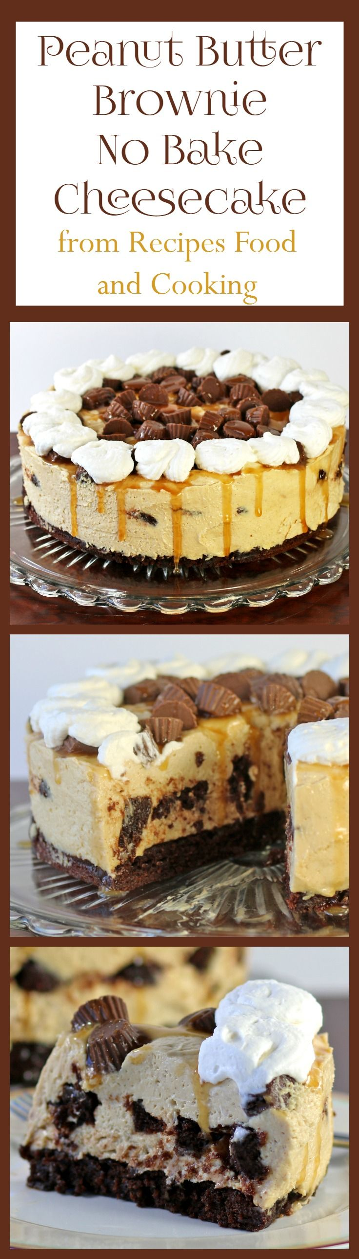 Peanut Butter Brownie No Bake Cheesecake -No bake peanut butter cheesecake with a brownie crust and brownie middle. #SundaySupper - Recipes, Food and Cooking