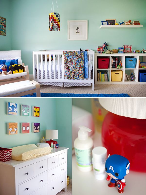 Superhero themed little boys nursery! Photography by: Maggie Russ Photo (http://maggierussophoto.com/)