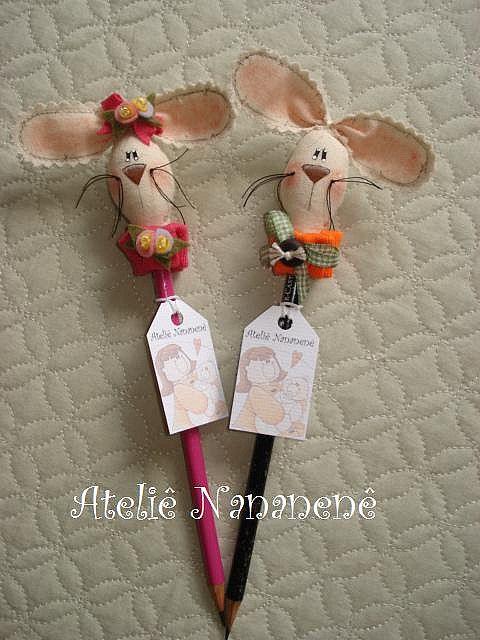 conejos de tela en lápiz