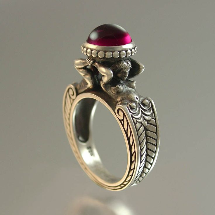 Ring   Sergey Zhiboedov.  Made of sterling silver and adorned with a lab grown ruby - Stunning!