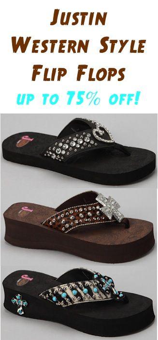 Justin Western Style Flip Flops ~ up to 75% off! #flipflops