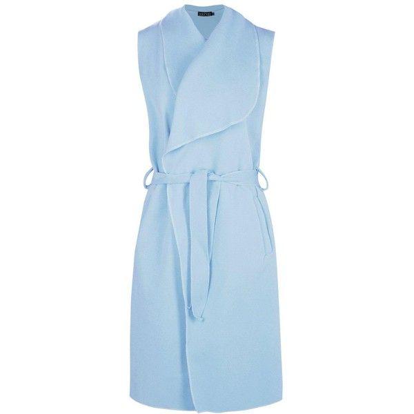 Boohoo Karina Sleeveless Coat | Boohoo ($18) ❤ liked on Polyvore featuring outerwear, coats, blue puffer coat, blue raincoat, puff coat, duster coat and blue duster coat
