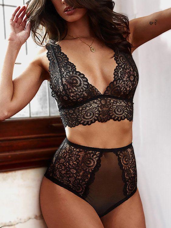 41308c67fd95 Black Eyelash Lace Details High-waisted Sexy Lingerie Set   Lingerie ...