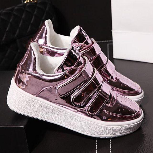 Womens patent leather platform shoes - gym shoes