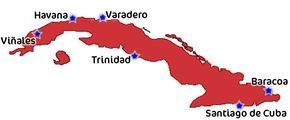 Map of Cuba - Viazul Buz