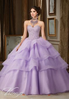 Morilee Vizcaya Quinceanera Dress 89111 CRYSTAL MOONSTONE BEADING ON FLOUNCED TULLE AND ORGANZA BALL GOWN Matching Bolero Jacket. Available in Blush/Champagne, Light Purple, White (Color of this dress): Light Purple
