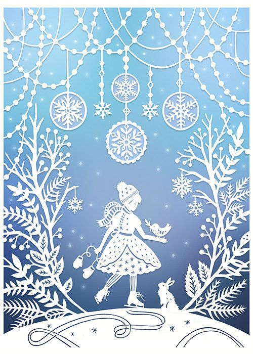 This is a 5x7 archival quality fine art print of my original papercut illustration, Winter Wonderland. The piece was cut from a single sheet of paper using an x-acto knife. The papercut was then scanned into the computer to make these beautiful giclee prints. (The original papercut is