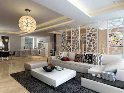 Gorgeous design of a modern living room with beautiful for Interior jali designs