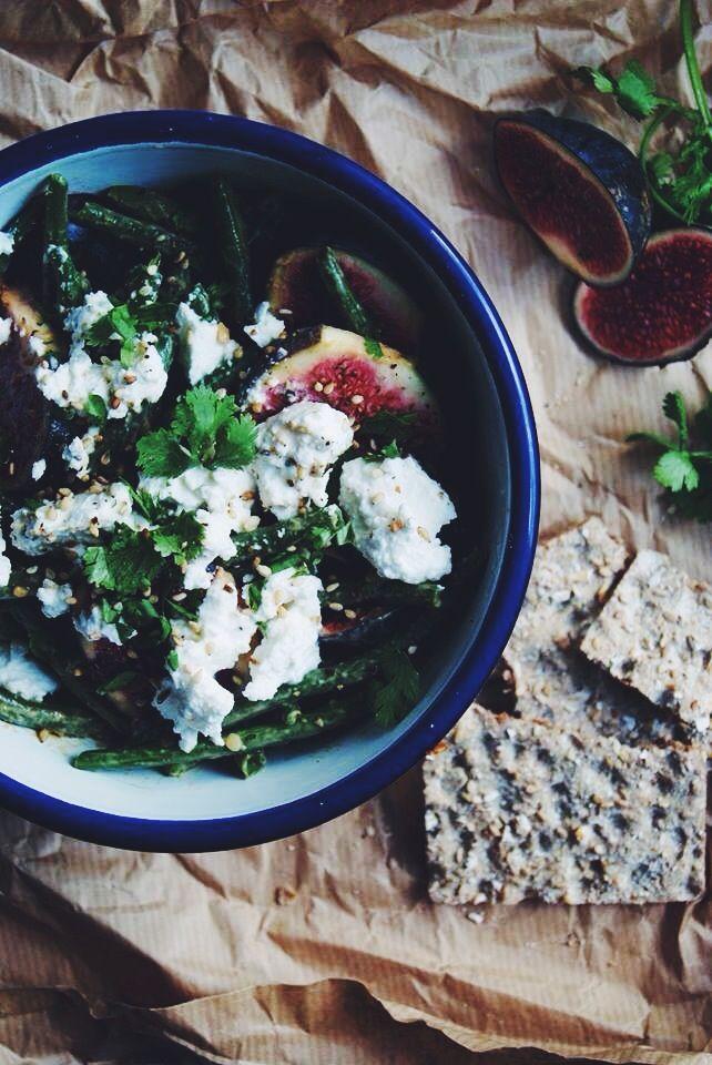 Salade de haricots verts, figues et ricotta