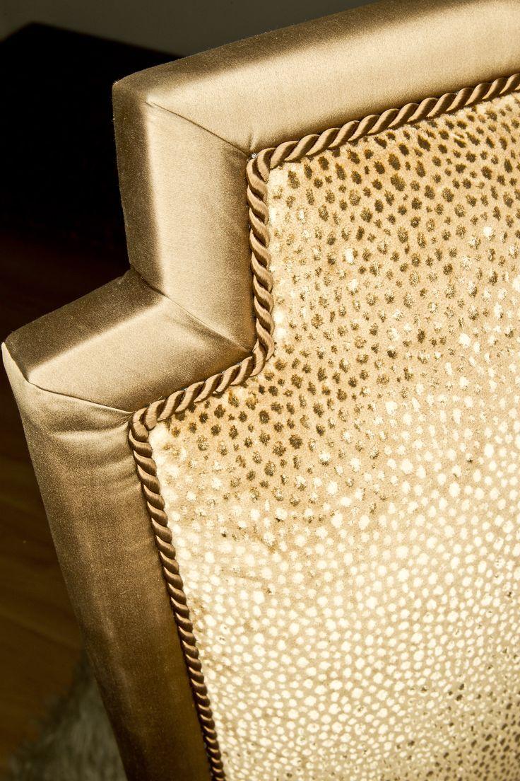 Perfect matching of 3 different textiles - silk satin, animal print, velvet and decorative cord on this delicate TIARA chair by MARI IANIQ. #MARIIANIQ #luxury #bespoke #handmade #textiles #silk #satin #animalprint #velvet #TIARA #chair #interiors #decor #design
