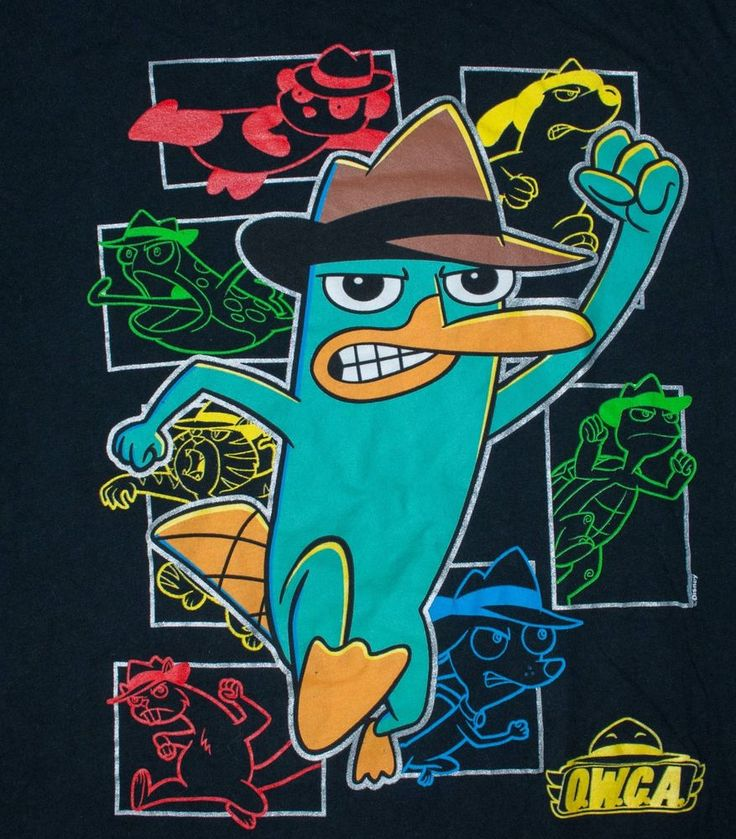 Phineas and Ferb t-shirt PERRY PLATYPUS characters OWCA disney child XL (14) #Disney