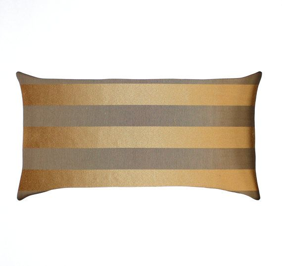 Gold Stripe Decorative Pillow : Gold Pillow - Lumbar Pillow - Gold Metallic - Beige Stripe - Throw Pillow Cover - Oblong - 12x24 ...