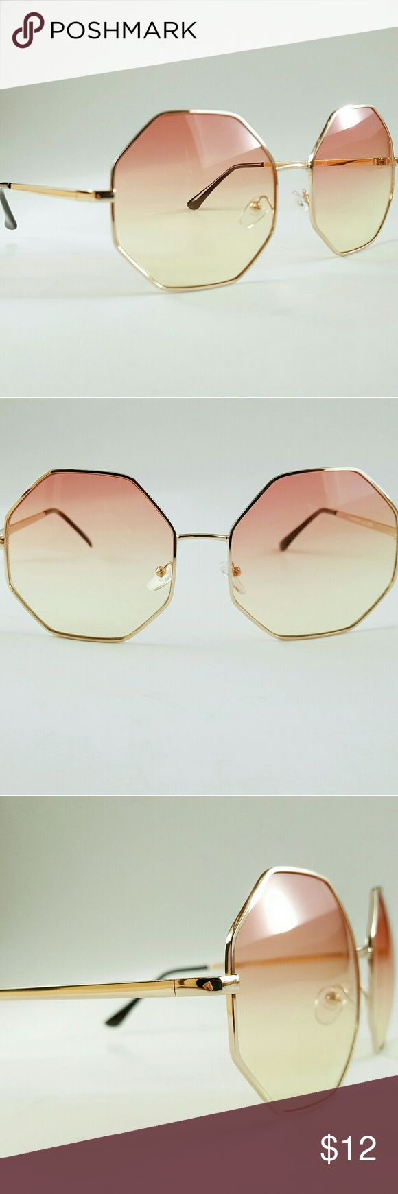 NEW! Hippie Chic Ombre Sunglasses Hippie chic,  gold frame hexagon shaped sunglasses. Orange to yellow ombre lenses. Gold arms with black ear piece. UVA400 protection against ultra violet UVA & UVB rays. New, only worn once for this photo. Accessories Sunglasses