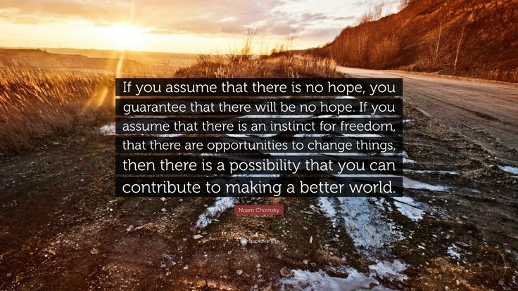 """Noam Chomsky Quote: """"If you assume that there is no hope, you guarantee that there will be no hope. If you assume that there is an instinct for freedom, that there are opportunities to change things, then there is a possibility that you can contribute to making a better world."""""""