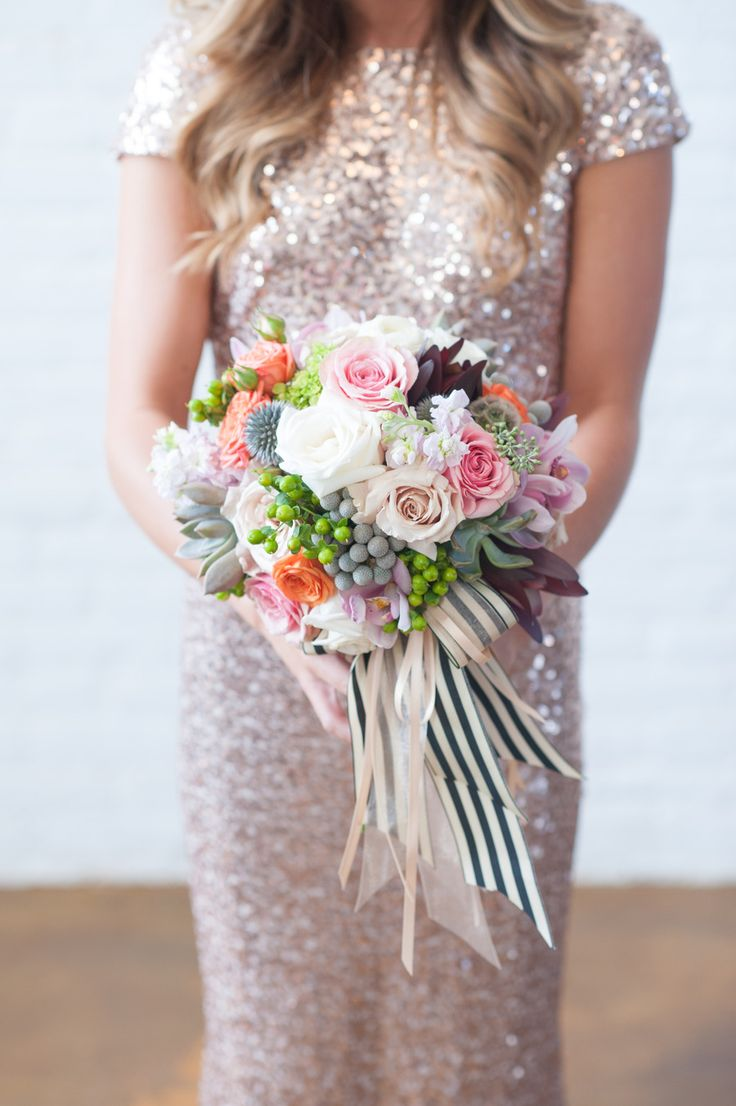 Color mixWedding Inspiration, Bridal Bouquets, Colors Photography, Bridesmaid Dresses, Wedding Bouquets, Gold Sequins, Sparkly Dresses, Floral, Berries