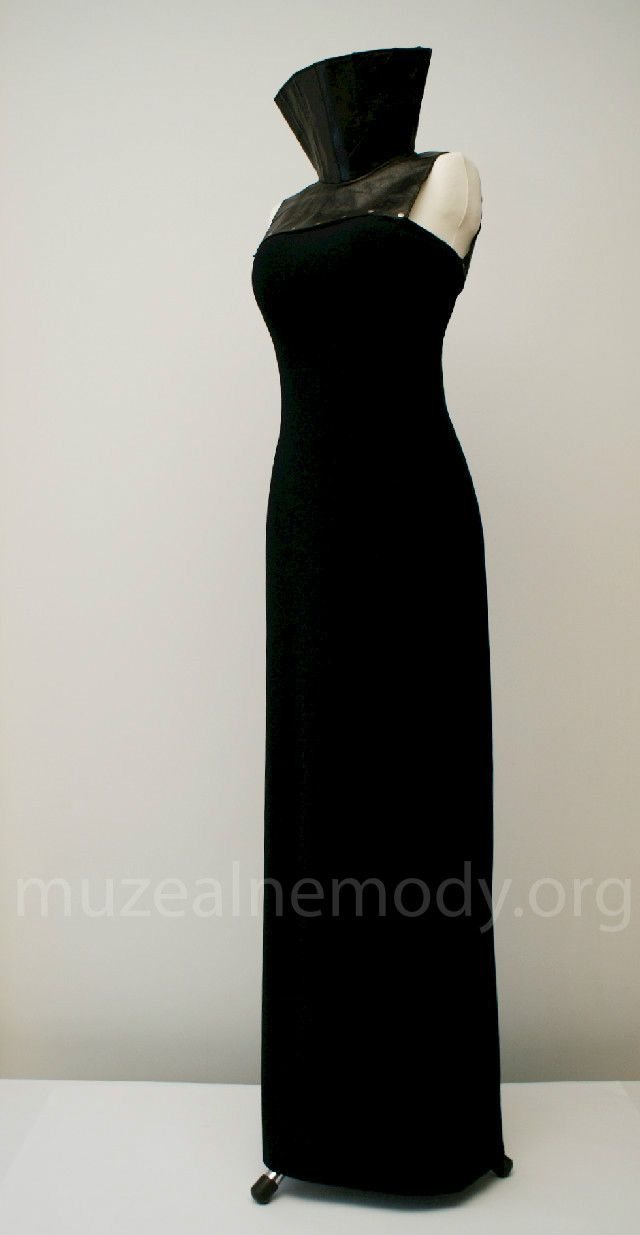 PACO RABANNE Dress, 1990s.; rayon and polyester knit, leather