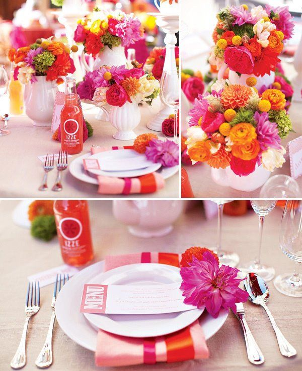 Hot Pink and Orange Wedding Inspiration #hotpink #wedding #decorations