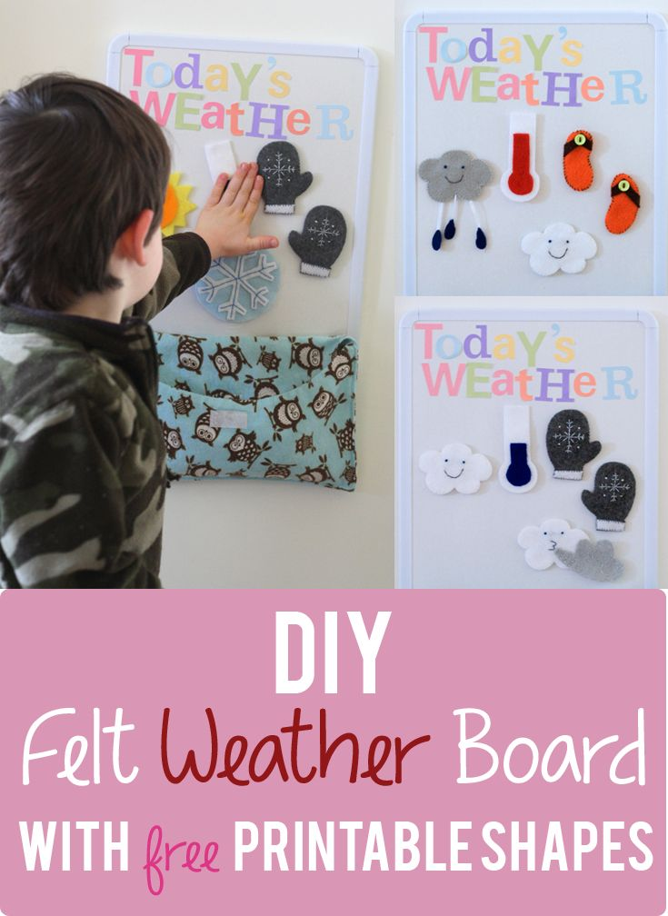 A super simple DIY Felt Weather Board with free printable shapes. Perfect for Montessori Weather Unit.
