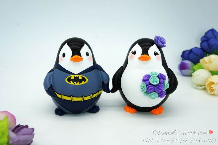 Batman Wedding Cake Toppers -Penguin Wedding Cake Toppers With Batman Theme