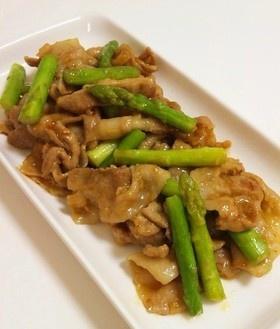 アスパラと豚肉の中華風ピリ辛炒め