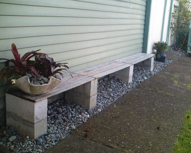Cinder block bench backyard ideas pinterest gardens for Banca de madera para jardin