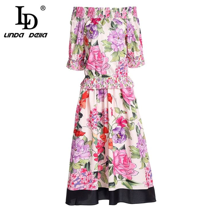Runway Two Pieces Set Suit Women's Sexy Off the Shoulder Elastic Top and Floral Print Skirt Sets 2