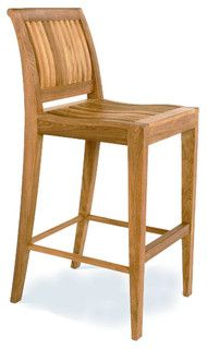 Laguna Teak Armless Bar Stool - transitional - outdoor stools and benches - by Westminster Teak Furniture