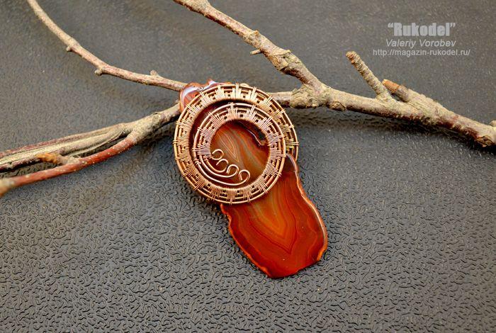 Плетение украшений из проволоки в технике Wire Wrapping.  Wire Wrap Pendant  - http://magazin-rukodel.ru/