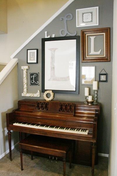 monogramsDesign Company, Decor Ideas, Monograms Wall, The Piano,  Upright Piano, Jones Design, House, Gallery Wall, Piano Room