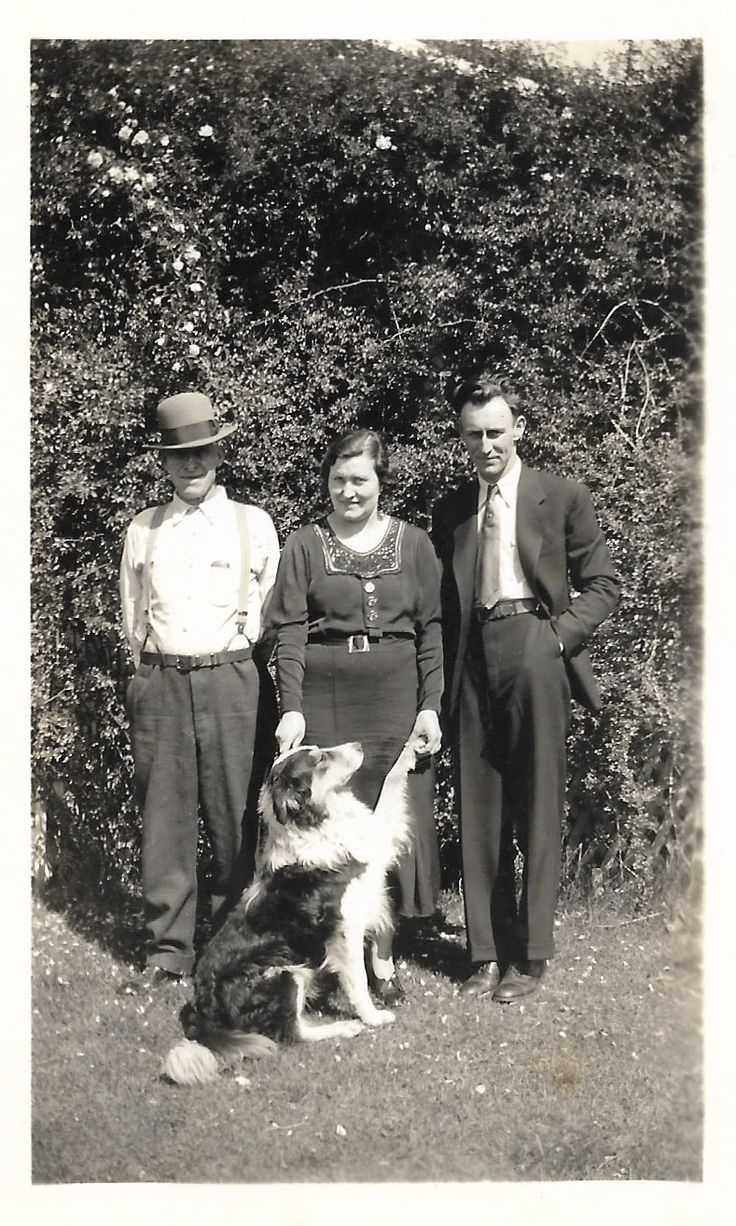 Family dog vintage snapshot loving woman with dog husband