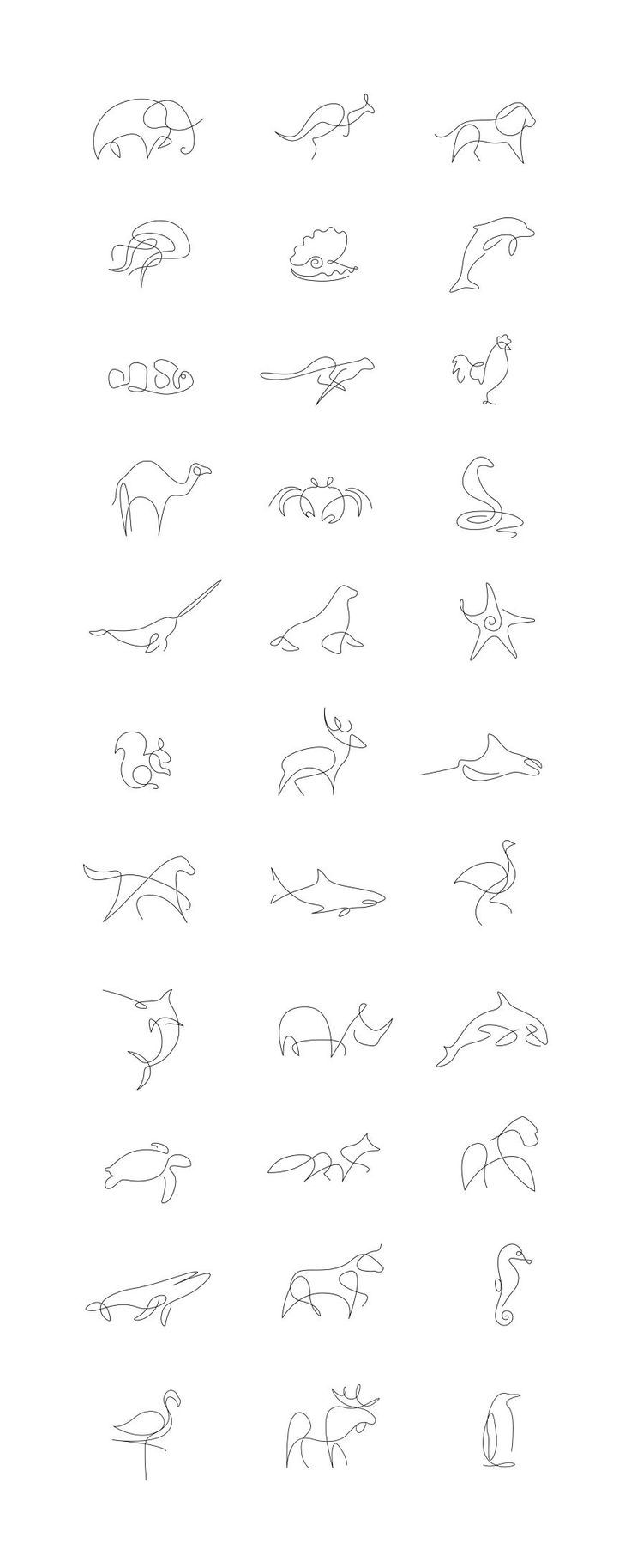 Tiny Tattoo Idea – Minimalist One Line Animals By A French Artist Duo  – Art