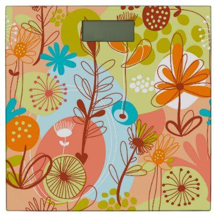 Retro Flowers White Green Salmon Orange Yellow Bathroom Scale - retro gifts style cyo diy special idea