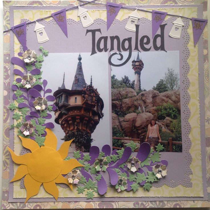 Disney scrapbook layout....Tangled.  This layout would be cute for pictures with Rapunzel too.
