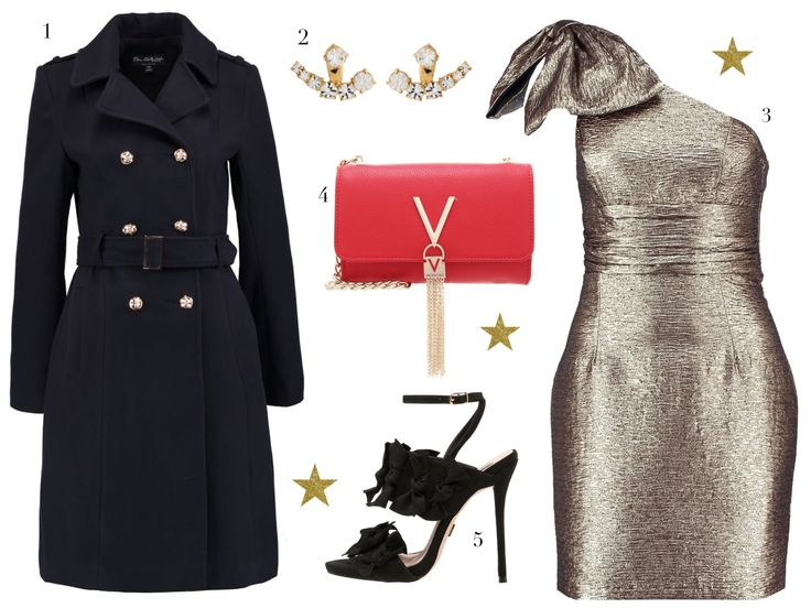 the perfect outfit for christmas - FashionHippieLoves. Golden one shoulder dress+black ankle strap bow heeled sandals+navy army style coat+red clutch with golden details+earrings. Christmas Party Outfit 2016