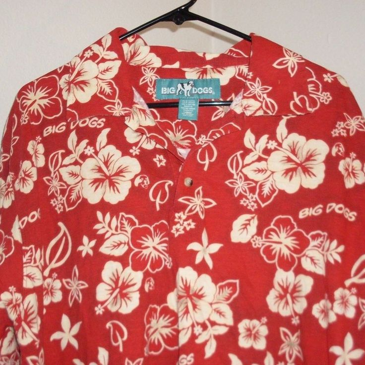 Big Dogs Hawaiian Shirt M Medium Cotton Pullover Red Hibiscus #BigDogs #Hawaiian