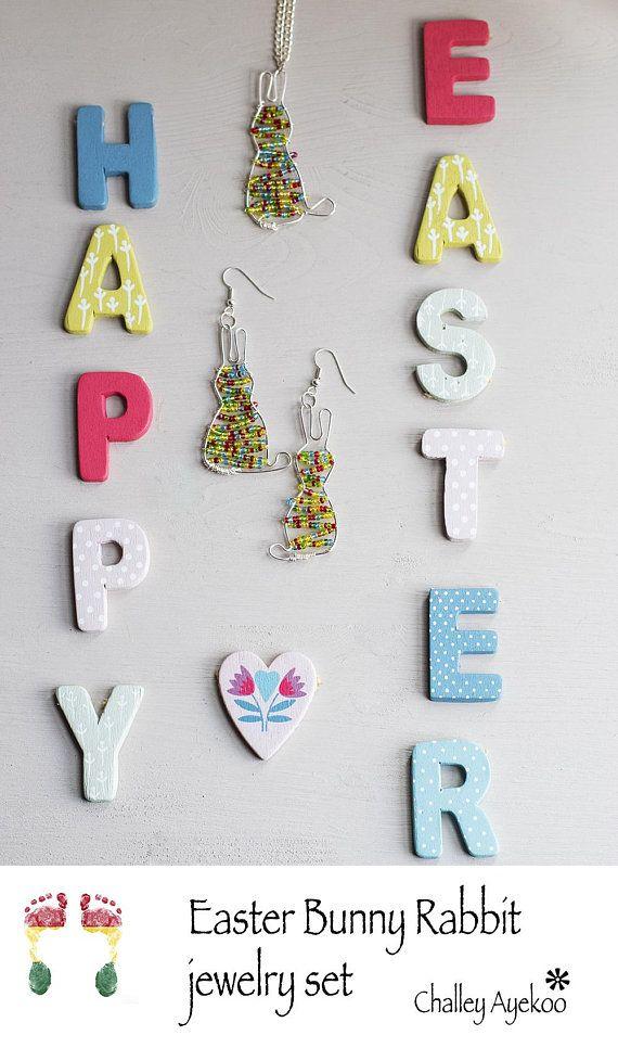 Easter bunny rabbit jewelry set Easter bunnies earrings