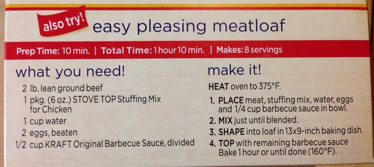 Easy Meatloaf using Stove Top Stuffing