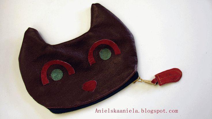 DIY TUTORIAL leather cat wallet (pattern) jak uszyć portfel kotek diy plus szablon