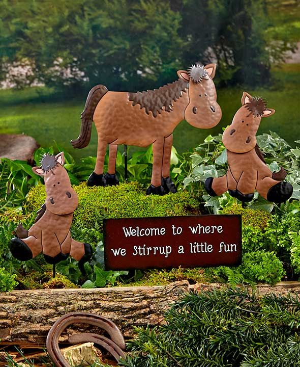 Barnyard Welcome Stake Set Garden Lawn Yard Decor Country Farmhouse Cow Pig Horse