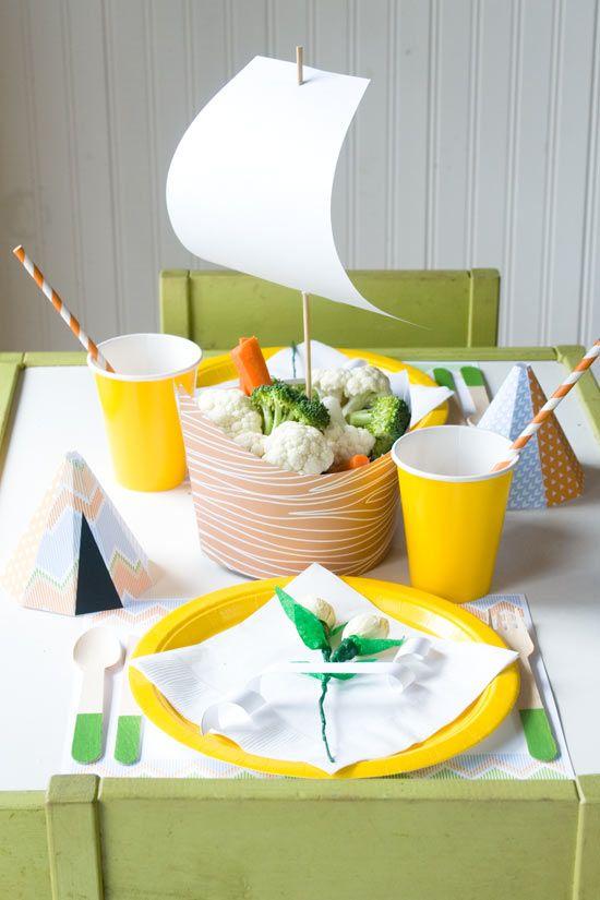 Decoración de plato en forma de barco  Plantillas descargables  #onecharmingparty