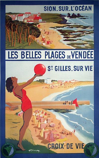 affiche de Vendée, Les belles plages de Vandèe , France  océan, atlantique beach vintage travel poster