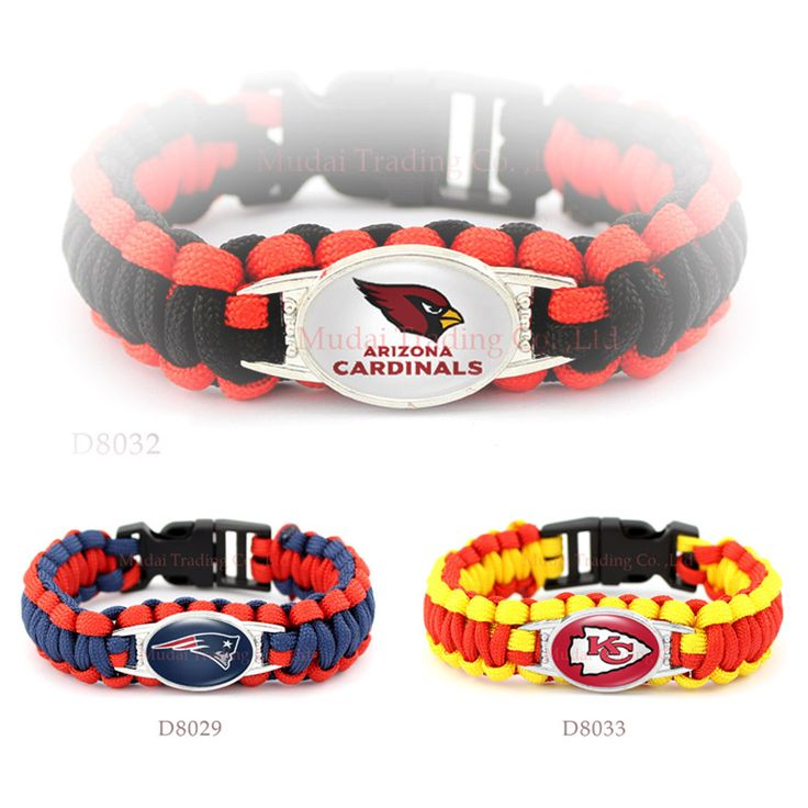 (10 Pieces/Lot) Arizona Football Team Cardinals Paracord Survival Friendship Outdoor Camping Sports Bracelet Cardinal Red Black