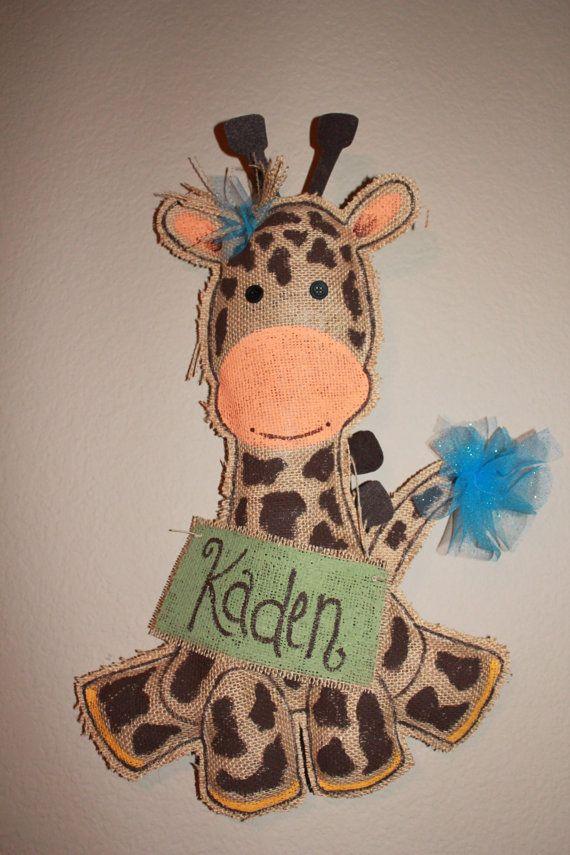 Giraffe burlap Door hanger new baby shower by Cutipiethis on Etsy