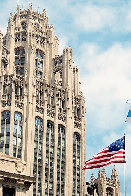 Built in 1924, the Tribune Tower by Raymond Hood and John Howells is Neo-Gothic in design
