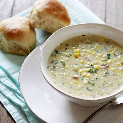 Potato and Corn Chowder with Bacon and Kale