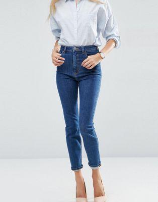 ASOS FARLEIGH High Waist Slim Mom Jeans In Courtney Flat Blue Wash at asos.com | @giftryapp